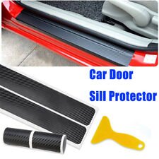 4pcs Car Door Plate Sill Scuff Cover Carbon Fiber Anti Scratch Sticker Protector