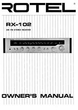 Rotel RX-102 Receiver Owners Instruction Manual
