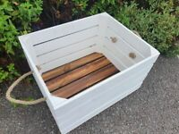WHITE CRATE LOG STORE / FIRE WOOD STORAGE  / FIREPLACE KINDLING BOX