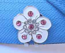 White Flower With Crystals Golf Ball Markers Package of 2 - W/ Magnetic Hat Clip