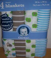 4 New Gerber Flannel Receiving Blankets, Baby Shower