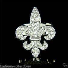 w Swarovski Crystal France Paris ~Fleur de Lis Lys Lily Flower Rhodium Ring Xmas