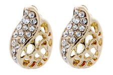Clip On Earrings - gold plated with clear cubic zirconia crystals - Helga