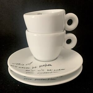 ILLY Art Collection YOKO ONO, 2 Espresso Cups, 2 Saucers, Italy, Numbered