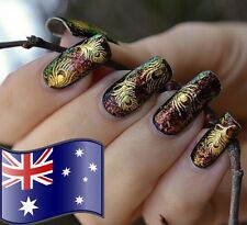 Gold Peacock Feathers Nail Stickers Decals Nail Art Tip Decoration