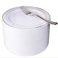 NERVURE 102 Disposable Plastic 7.5� Cake Plates & 102 Silver Plastic Forks, for