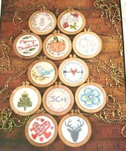 Stitchery Patterns for Mini Hoops Necklace by Shirley Hudson - 12 Designs