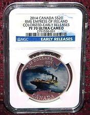 2014 CANADA $20 R.M.S EMPRESS OF IRELAND COLORIZED SILVER COIN - NGC PF70 UC ER