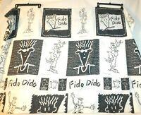 VTG 1985 FIDO DIDO Flat Sheet Fabric Twin Black & White Pop Culture EUC