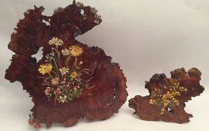 Vintage Decorative Original Signed NSW Flower Paintings on Hardwood Pieces
