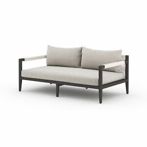 "63"" W Loreto Outdoor Rectangle Sofa Bronze Aluminum Light Grey Weather Resistant"