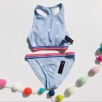 No Boundaries Juniors Blue Star USA Padded Bikini TOP ONLY Bra - Sz M - NEW