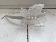 Ivory Satin Headband Hairband  Ivory Lace Pearl Butterfly Bridesmaid Flower Girl