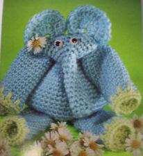 Animal Bazaar shaggy dog elephant bunny slippers knit crochet pattern