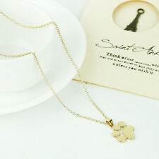 Cute Pet Dog Cat Paw Print Pendant Chain Necklace Silver Gold Plated Jewellery