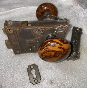 Antique Shapleigh Hardware  Rim Lock with Bennington Knobs, Striker and Key #2
