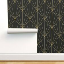 Removable Water-Activated Wallpaper Art Deco Pattern Black Pyramid Triangle