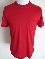 $675 BRIONI Slim Fit Red 100% Silk Crewneck T-Shirt Shirt Size S Small