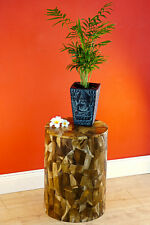 Wood Flower Stand 16 1/2in Plants Podium Teakwood round Natural Braun