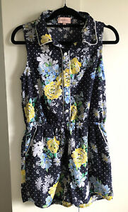 REVIEW Navy Floral Sleeveless Romper Sz 14