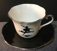 Vintage Beautiful Taylor & Kent Cup Saucer Set~White~Black~Ballerina~Silver