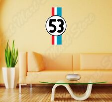 Herbie 53 Fully Loaded Volkswagen Beetle Wall Sticker Room Interior Decor 16X25""