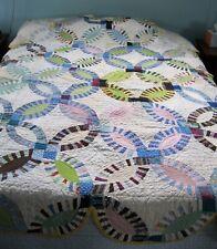 New ListingVintage Patchwork Quilt-Hand Sewn-Interesting Wedding Ring Pattern-Large