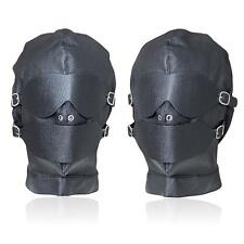High Quality UA76 Black GOTHIC PU Leather Bondage Blindfold Mask Fetish Hood