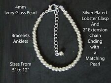 "10"" 25cm Long - 4mm Ivory Glass Pearl Bracelet/Anklet Silver Plated LobsterClasp"