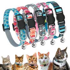 Adjustable Nylon Cat Collars Breakaway Buckle Quick Release With Bell for Kitten