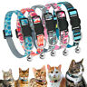 Adjustable Nylon Cat Collars Breakaway Buckle Quick Release With Bell for Kitten