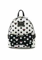 Disney Loungefly Minnie Mouse Polka Dot Black and White Mini Backpack