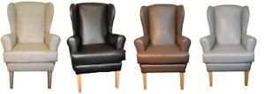 Orthopaedic High Back Winged Chair Faux Leather Grey Brown Black Cream