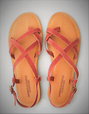 NWT American Eagle Outfitters Women's  7 Suede Toe Strappy Sandal Brick Red