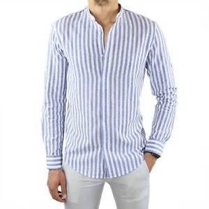 Camicia Uomo in 100% Lino Coreana Celeste Slim a Righe Manica Lunga Elegante