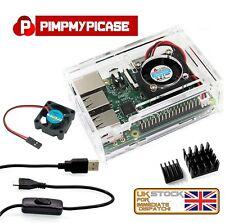 Raspberry Pi Starter Pack Clear Case - Fan - 2 X Heat sink - On/Off  Power Lead