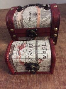 Set of 2 SMALL VINTAGE WOODEN TREASURE CHEST STORAGE JEWELLERY TRINKET BOX