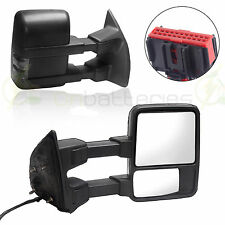 Side Towing Mirrors Manual Smoke Signal Pair For Ford 08-16 F250 F350 F450 F550