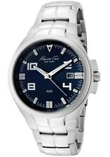 KENNETH COLE NY DRESS NAVY BLUE DIAL DATE STAINLESS STEEL MEN'S WATCH KC9071 NEW
