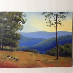original Landscape oil painting unframed signed on canvas panel 9 x12 in