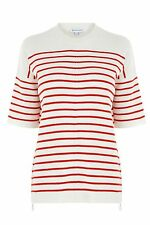 Warehouse Stripe Zip Top Red Size UK 10 rrp £36 DH078 LL 08