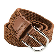 Unisex Leather Covered Buckle Woven Elastic Stretch Belt 4.1cm Wide