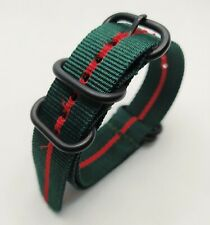 22 mm Nato Strap Correa Reloj Nylon Watch band verde y rojo, green & red