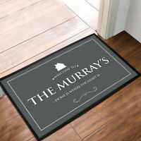 Personalised Home Grey House label door mat 60 x 40 cm