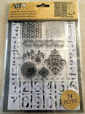 Art-C Clear Acrylic Stamp & Adhesive Stencil Set San Serif Alphabet 74-pc NEW