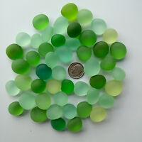 round sea beach glass 15-18mm 10 pcs pebble lots green lime  jewelry use