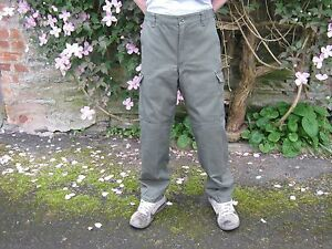 Austrian Army Heavy Combat Trousers Zip Fly Cargo Pockets Green Military Surplus