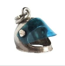 Vintage Nuvo 925 Silver Motorcycle Helmet w Blue Visor Charm New on Card NOS