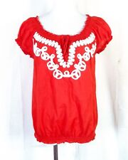 euc Banana Republic Ethnic Embroidered Shoelace Style Crop Top Blouse sz S