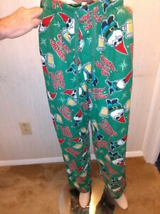 """Fruit of the Loom """"Chilling with my Gnomies"""" Christmas Sleep Pants Size M"""